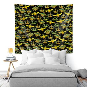Artistic Wall Tapestry   Pom Graphic Design - Queen Honey Bees Mint Black   insects bug pattern nature