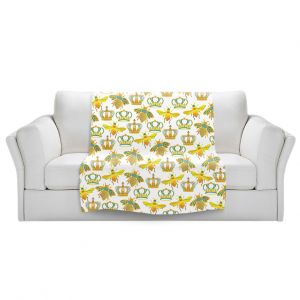 Artistic Sherpa Pile Blankets   Pom Graphic Design - Queen Honey Bees Mint   insects bug pattern nature
