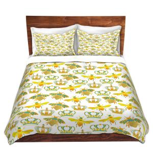 Artistic Duvet Covers and Shams Bedding | Pom Graphic Design - Queen Honey Bees Mint | insects bug pattern nature