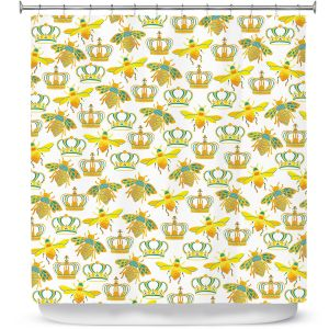 Premium Shower Curtains | Pom Graphic Design - Queen Honey Bees Mint | insects bug pattern nature