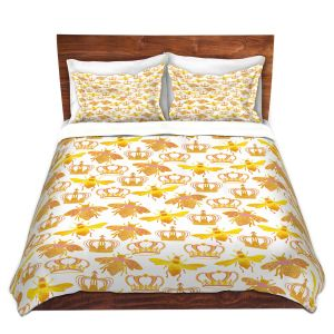 Artistic Duvet Covers and Shams Bedding | Pom Graphic Design - Queen Honey Bees Pink | insects bug pattern nature