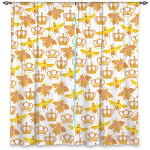 Decorative Window Treatments | Pom Graphic Design - Queen Honey Bees Pink | insects bug pattern nature