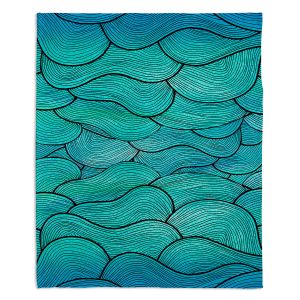 Artistic Sherpa Pile Blankets | Pom Graphic Design Sea Waves Pattern