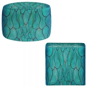 Round and Square Ottoman Foot Stools | Pom Graphic Design - Sea Waves Pattern