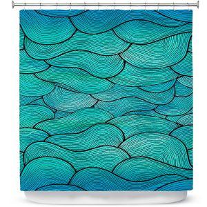 Premium Shower Curtains | Pom Graphic Design Sea Waves Pattern