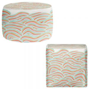 Round and Square Ottoman Foot Stools | Pom Graphic Design - Summer Seawaves