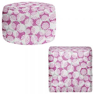 Round and Square Ottoman Foot Stools | Pom Graphic Design - Violet Floral Blossoms