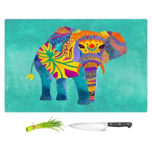 Artistic Kitchen Bar Cutting Boards | Pom Graphic Design - Whimsical Elephant Aqua