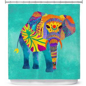 Premium Shower Curtains | Pom Graphic Design - Whimsical Elephant Aqua
