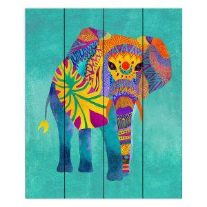 Decorative Wood Plank Wall Art |Pom Graphic Design - Whimsical Elephant Aqua