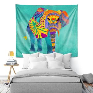 Artistic Wall Tapestry | Pom Graphic Design - Whimsical Elephant Aqua
