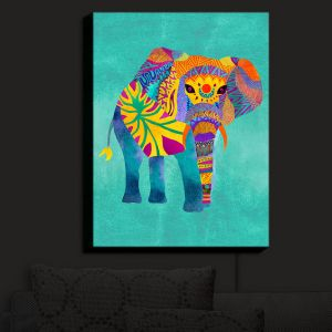 Nightlight Sconce Canvas Light | Pom Graphic Design - Whimsical Elephant Aqua | Whimsical Elephants Animals
