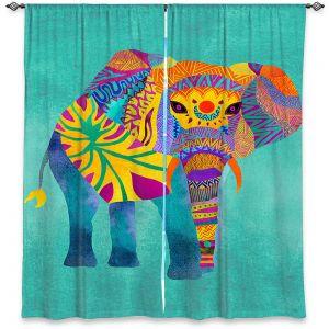 Decorative Window Treatments | Pom Graphic Design - Whimsical Elephant Aqua