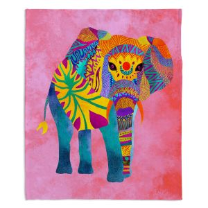 Decorative Fleece Throw Blankets | Pom Graphic Design - Whimsical Elephant Pink