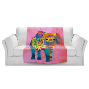 Artistic Sherpa Pile Blankets | Pom Graphic Design - Whimsical Elephant Pink