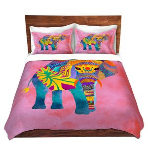 Artistic Duvet Covers and Shams Bedding | Pom Graphic Design - Whimsical Elephant Pink