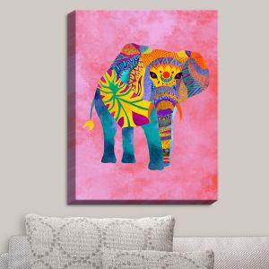 Decorative Canvas Wall Art   Pom Graphic Design - Whimsical Elephant Pink   Whimsical Elephants Animals