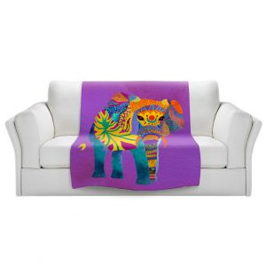 Artistic Sherpa Pile Blankets | Pom Graphic Design - Whimsical Elephant Purple