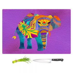 Artistic Kitchen Bar Cutting Boards | Pom Graphic Design - Whimsical Elephant Purple