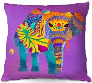 Decorative Outdoor Patio Pillow Cushion | Pom Graphic Design - Whimsical Elephant Purple