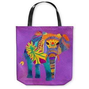 Unique Shoulder Bag Tote Bags |Pom Graphic Design - Whimsical Elephant Purple