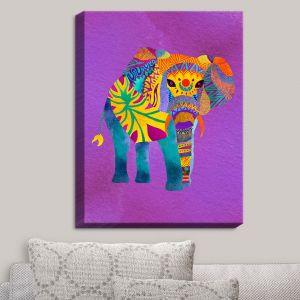 Decorative Canvas Wall Art | Pom Graphic Design - Whimsical Elephant Purple | Whimsical Elephants Animals