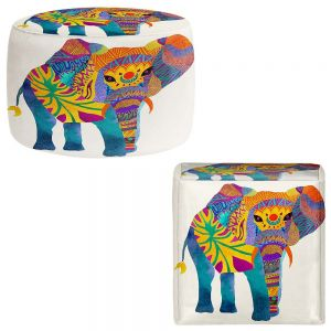 Round and Square Ottoman Foot Stools | Pom Graphic Design - Whimsical Elephant I