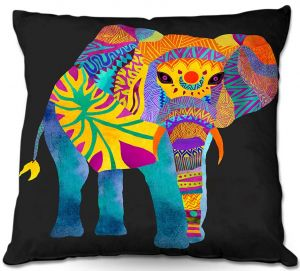 Decorative Outdoor Patio Pillow Cushion | Pom Graphic Design - Whimsical Elephant II