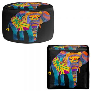 Round and Square Ottoman Foot Stools | Pom Graphic Design - Whimsical Elephant II
