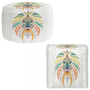 Round and Square Ottoman Foot Stools | Pom Graphic Design - Whimsical Lion I