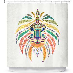 Premium Shower Curtains | Pom Graphic Design Whimsical Lion