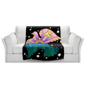 Artistic Sherpa Pile Blankets | Rachel Brown - Peace On Earth | Rainbow Dove Bird