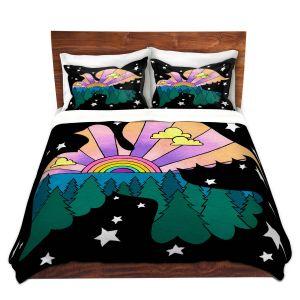 Artistic Duvet Covers and Shams Bedding | Rachel Brown - Peace On Earth | Rainbow Dove Bird