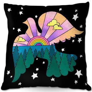 Decorative Outdoor Patio Pillow Cushion | Rachel Brown - Peace On Earth | Rainbow Dove Bird