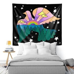 Artistic Wall Tapestry | Rachel Brown - Peace On Earth | Rainbow Dove Bird