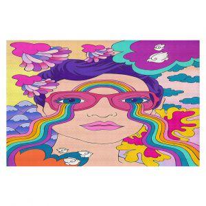 Decorative Floor Covering Mats | Rachel Brown - Pineapple Express | psychedelic Rainbow