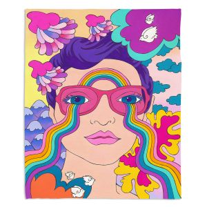 Decorative Fleece Throw Blankets | Rachel Brown - Pineapple Express | psychedelic Rainbow