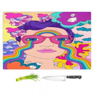 Artistic Kitchen Bar Cutting Boards | Rachel Brown - Pineapple Express | psychedelic Rainbow