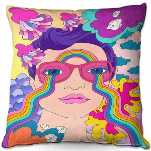 Throw Pillows Decorative Artistic | Rachel Brown - Pineapple Express | psychedelic Rainbow