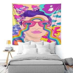 Artistic Wall Tapestry   Rachel Brown - Pineapple Express   psychedelic Rainbow