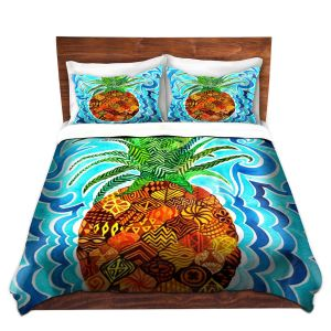 Artistic Duvet Covers and Shams Bedding | Rachel Brown - Psychedelic Pineapple