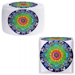 Round and Square Ottoman Foot Stools | Rachel Brown - Samsara Mandala