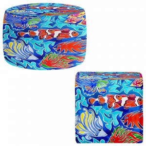 Round and Square Ottoman Foot Stools   Rachel Brown - Snorkeling