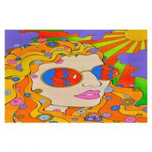 Decorative Floor Covering Mats   Rachel Brown - Sunshine Daydream 2   psychedelic Rainbow