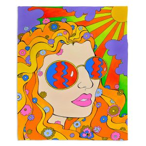 Decorative Fleece Throw Blankets | Rachel Brown - Sunshine Daydream 2 | psychedelic Rainbow