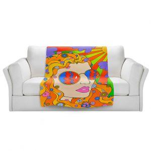 Artistic Sherpa Pile Blankets | Rachel Brown - Sunshine Daydream 2 | psychedelic Rainbow