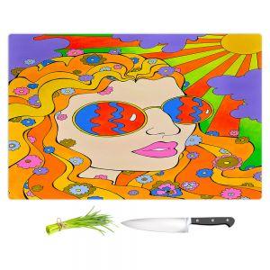 Artistic Kitchen Bar Cutting Boards | Rachel Brown - Sunshine Daydream 2 | psychedelic Rainbow