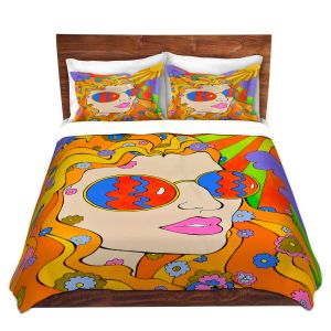 Artistic Duvet Covers and Shams Bedding | Rachel Brown - Sunshine Daydream 2 | psychedelic Rainbow