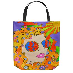 Unique Shoulder Bag Tote Bags | Rachel Brown - Sunshine Daydream 2 | psychedelic Rainbow