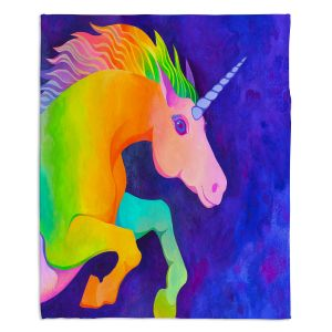 Artistic Sherpa Pile Blankets | Rachel Brown - Unicorn | animal fantasy rainbow